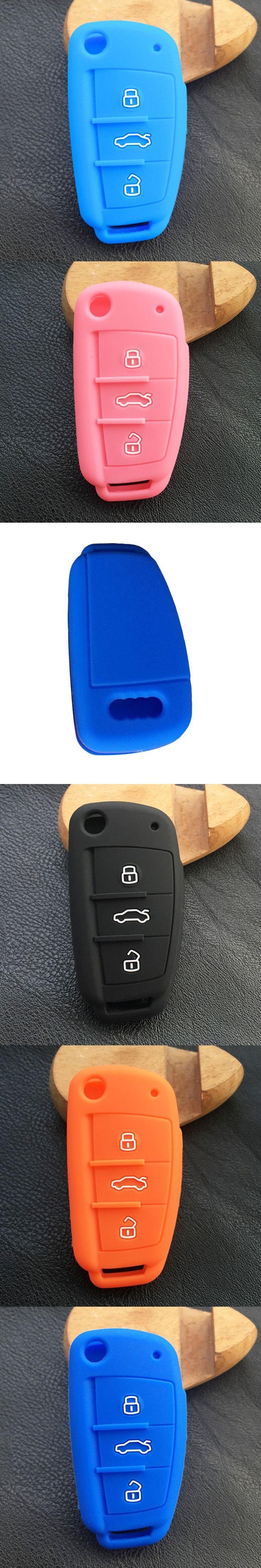 Dewtreetali hot silicone car key fob cover case skin for Audi A1 A2 A3 A4 A5 A6 A7 TT  Q5 Q7 R8 S6 S7 S8 RS5 flip folding remote