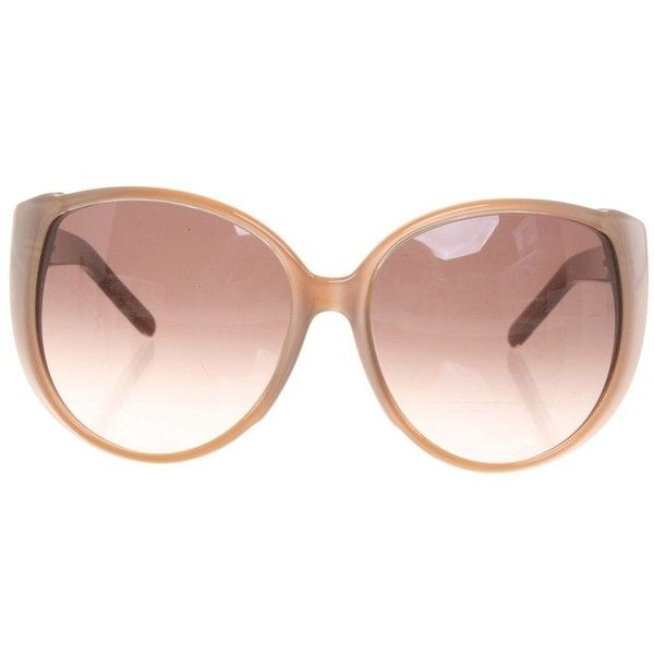 Pre-owned Sunglasses in Nude (555 PEN) ❤ liked on Polyvore featuring accessories, eyewear, sunglasses, brown, brown tinted sunglasses, plastic sunglasses, chloe glasses, brown sunglasses and brown tinted glasses