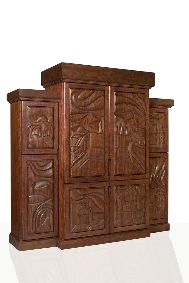 "Torah Ark (Aron Kodesh) ""Scenes of Jerusalem"". Bubinga  wood. Custom designed – This  Synagogue Furniture  piece was commissioned by the Ritz-Carlton luxery hotel, in Herziliya Pituach, Israel."