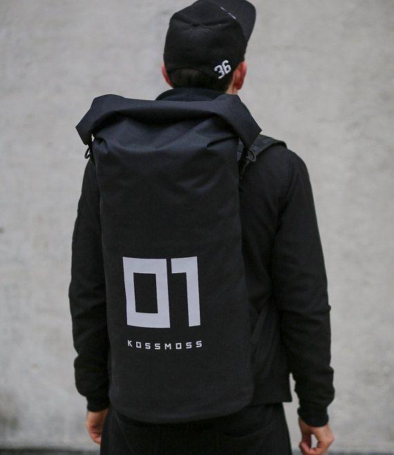 Mens Backpack / Big Roll Top Backpack / Black by KSSMSScom on Etsy
