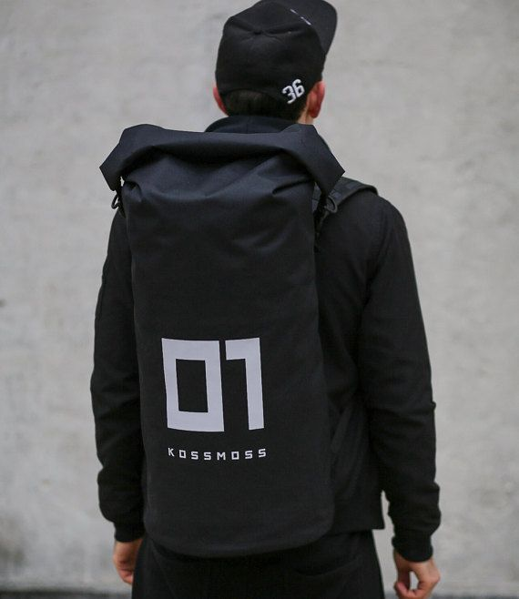 Mens Backpack / Big Roll Top Backpack / Black Reflective Rolltop Backpack / Roll…