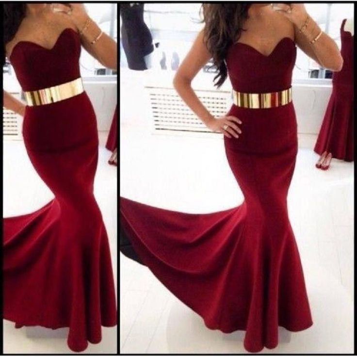 Red mermaid prom dress with gold belt