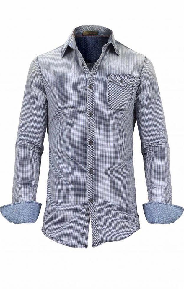 Ανδρικό πουκάμισο καρό με τσέπη | Άνδρας - Πουκάμισα | Metal Μπλε