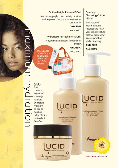 Annique's Lucid range for Dry, Dehydrated and Mature Skin Types. Annique Health & Beauty November 2017 Beaute.