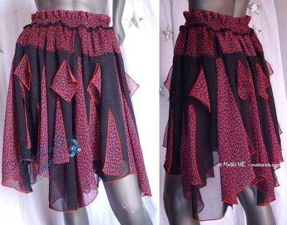 skirt black leopard and plum red muslin summer festival