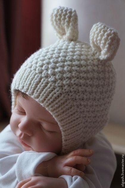 """Для новорожденных, ручной работы. Ярмарка Мастеров - ручная работа. Купить Шапочка """" Ушки-5"""". Handmade. Белый"""