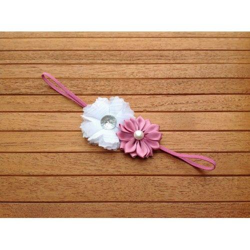 Smalt hårbånd i gammelrosa med blomster i hvid og gammelrosa