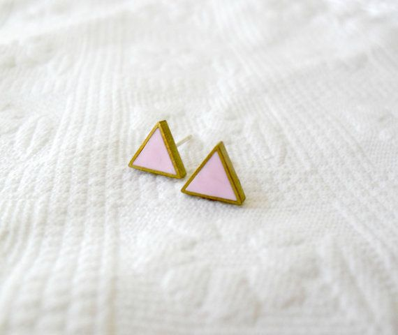 Baby pink triangle posts Polymer clay jewelry by DivineDecadance