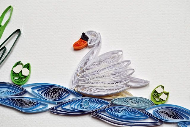 Quilling swan - made by kid