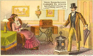 """Trade Card - """"Crown"""" Sewing Machine And Florence Oil Stoves Manufactured By The Florence Machine Co., Florence, Mass."""