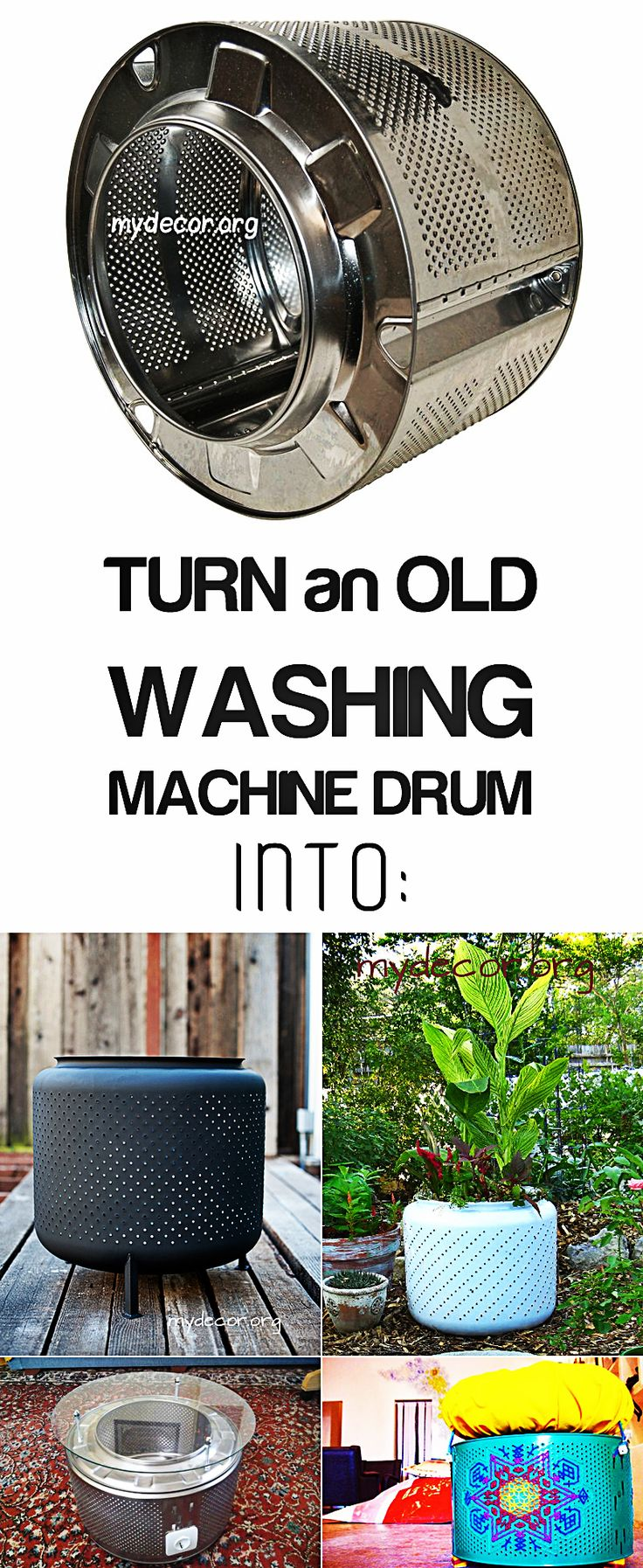 12 Creative Ways to Recycle Washing Machine Drums      Have you ever wondered what to do with washing machine drum? If you have a broken washing machine lying around and you have no idea of how you can recycle an old washing machine drum then you absolutely need to take a look at these...