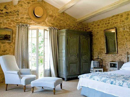 country french | french country-furniture 2214: French Bedrooms, French Style Bedrooms, Decorating Ideas, French Country, Stone Walls, Master Bedroom, Design