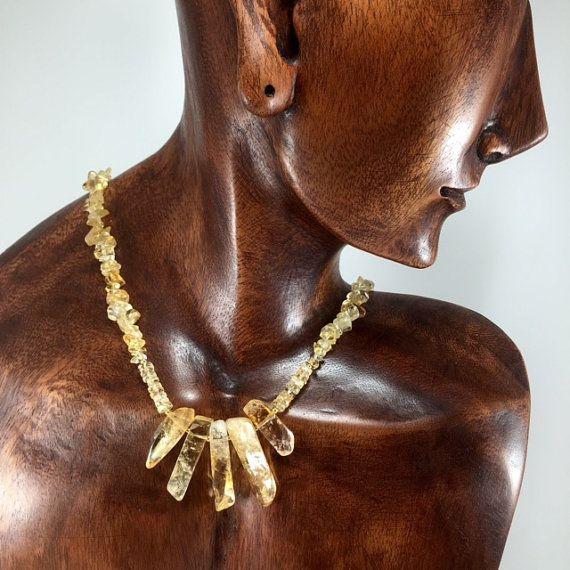 Citrine Necklace/ yellow/ Citrine/ gemstone/ statement/