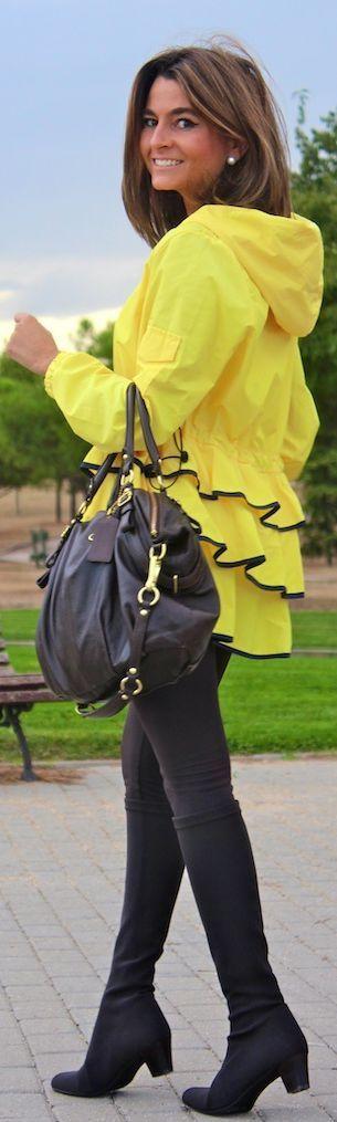 Ready For Fall / Preparada Para El Otoño by Oh my Looks.....I love this yellow ruffle. Jacket!