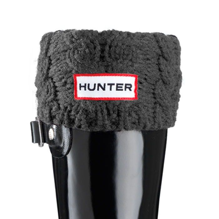 Chunky Cable Welly Socks - Charcoal | Hunter Boot