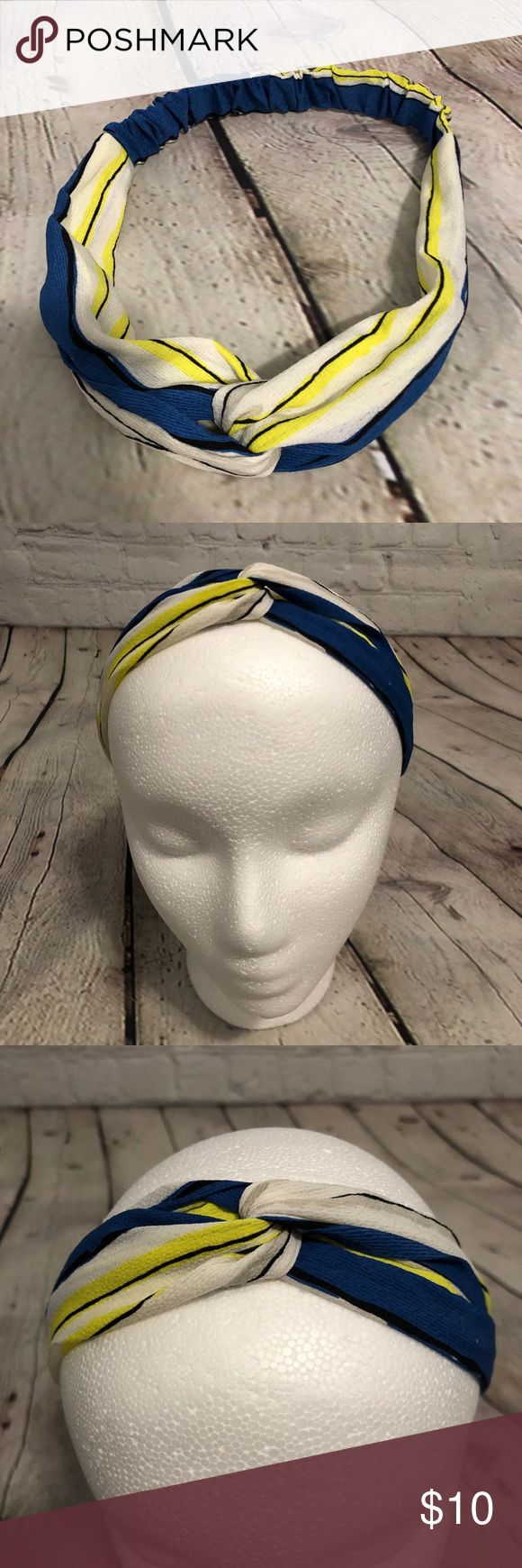 Knotted Boho Headband Stripes Cartoon Yellow White This knotted headband is super cute. It has elastic inside the fabric and it's stretchy and comfo...