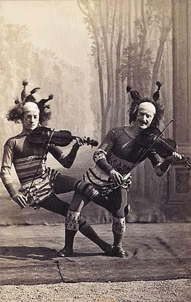 Victorian Cabinet card of clown musician circus performers
