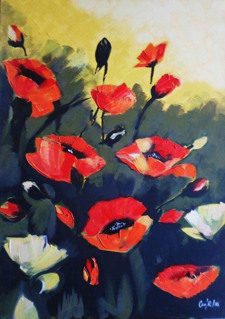 """""""Flores"""" Acrílico sobre tela. 50x70 Cms. 2016."""