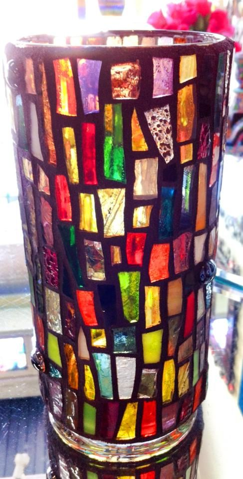 Colorful stained glass mosaic vase