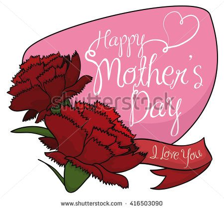 Couple of red carnations with a ribbon and pink sign with greeting messages for Mother's Day.