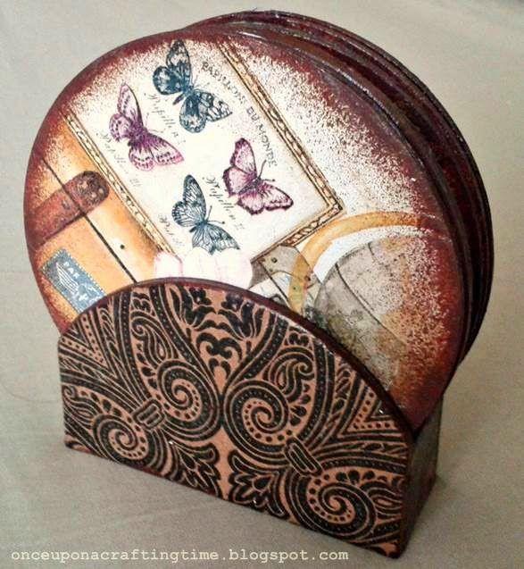 Decoupage Cup Coasters #decoupage#coaster #vintage