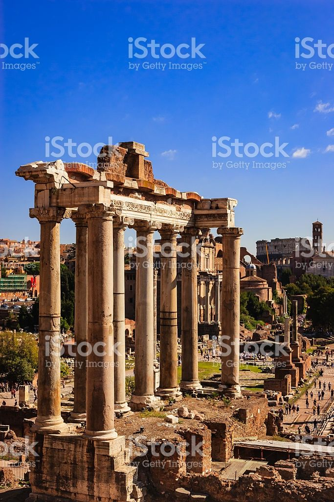 Rome, Italy - Classic view from Campidoglio, Temple of Saturn royalty-free stock photo