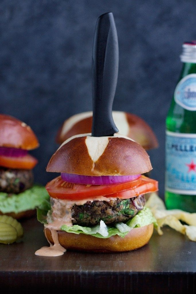 Black Bean Mushroom Burgers with Chipotle Mayo Recipe | Little Spice Jar