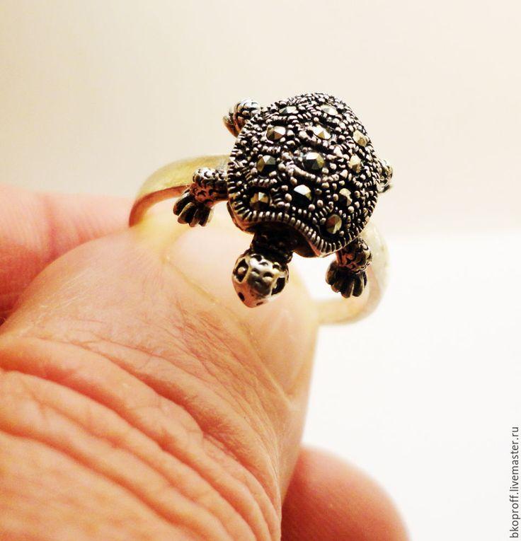 Купить Оригинальное серебряное женское кольцо 925 пробы марказит Черепаха - серебро 925 пробы