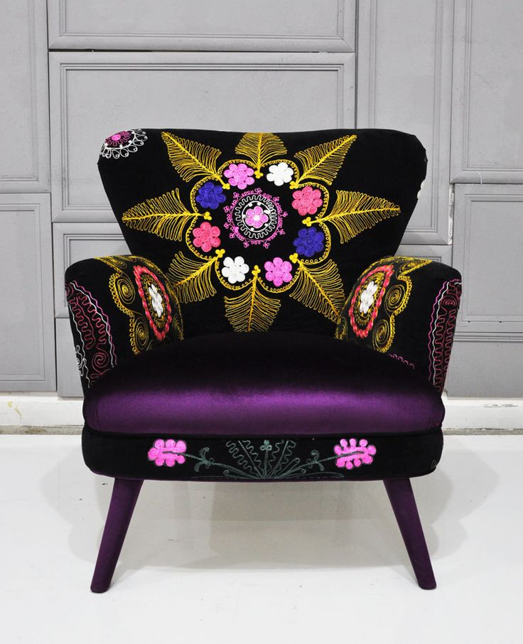 ALIA BILGRAMI Natural elegance  [Patchwork armchair with Suzani and velvet fabrics]