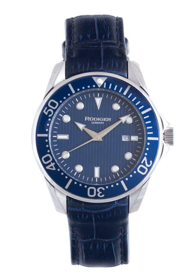 Price:$149.06 #watches Rudiger R2000-04-003L, Rudiger Chemnitz Men's Round Blue Watch