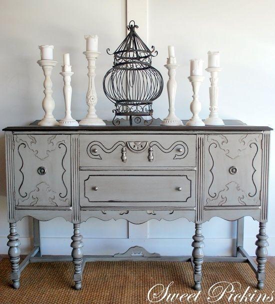 Beau Annie Sloan Chalk Paint Versailles | Annie Sloan Chalk Paint / Grey Painted  Antique Buffet By