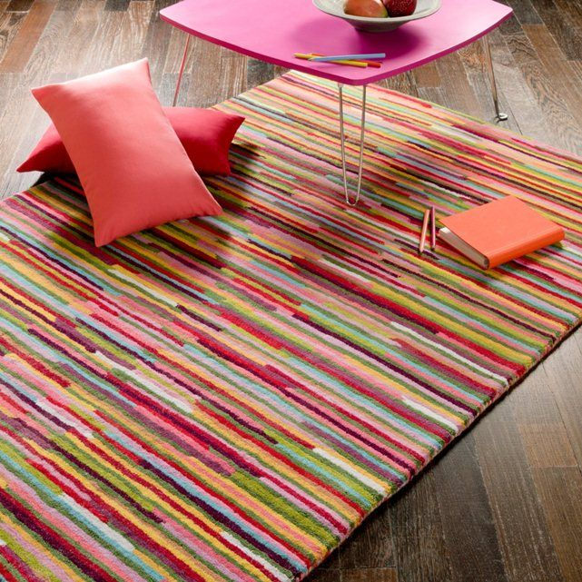 Linje Tufted Wool Rug With Multi Coloured Stripes La Redoute Interieurs