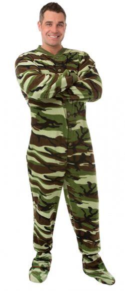 Big Feet Pajamas Adult Green Camouflage Fleece One Piece