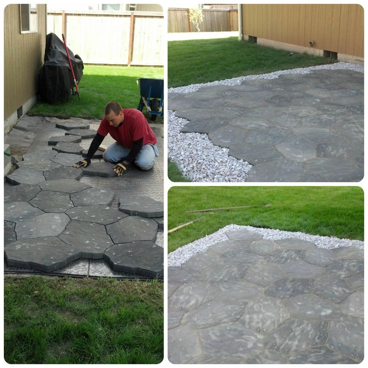 Diy stone patio completed projects pinterest for Diy stone projects