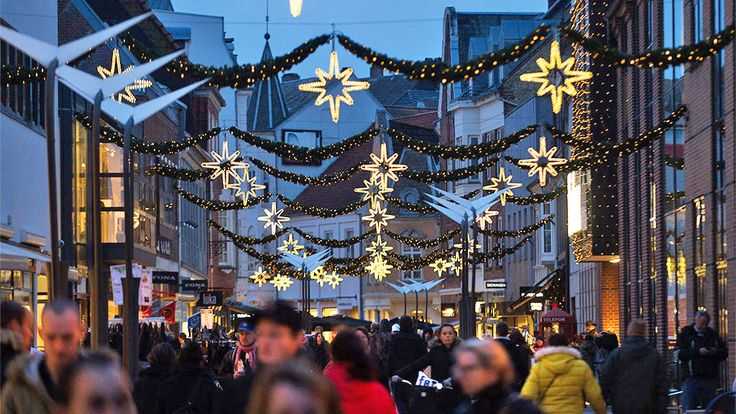 Vejle's shopping street at Christmas