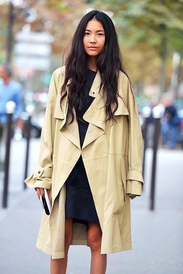 Beige Trench Coat Layered Over Black High Neck Dress #trenchcoat #mac #beigecoat #creamcoat #beigetrench #beigecoat #littleblackdress #highneckdress #blackdress