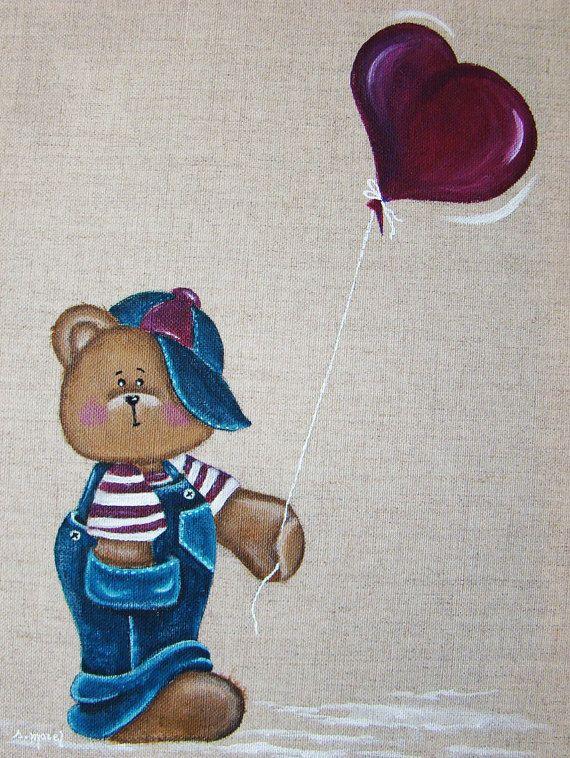 OURS avec son ballon en forme de coeur. Canvas par AquarelleandCo