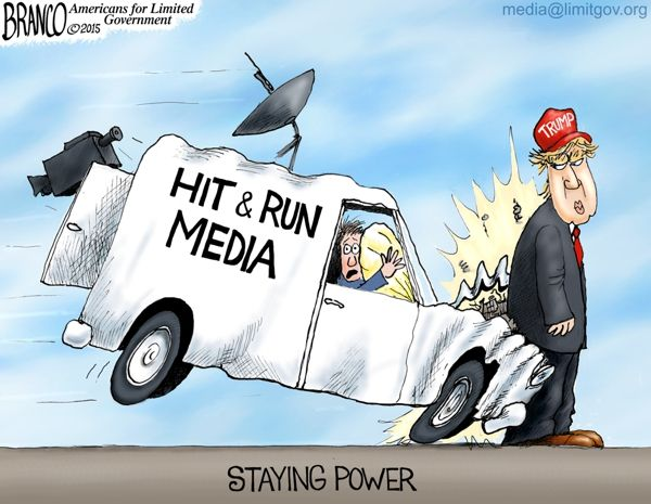 Trump Staying Power is more than the media thought possible. Political Cartoon by A.F.Branco ©2015