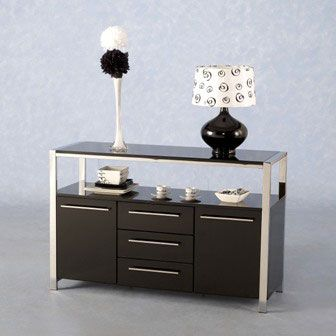 Stefan Hi-Gloss Black Modern Sideboard