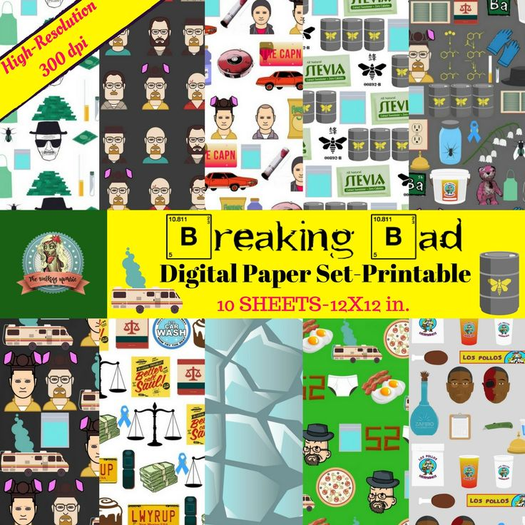 Breaking Bad Digital Paper, Printable Scrapbook Paper, Breaking Bad Characters, AMC Breaking Bad, Better Call Saul, Heisenberg, Walter White by WalkingMombieDesign on Etsy