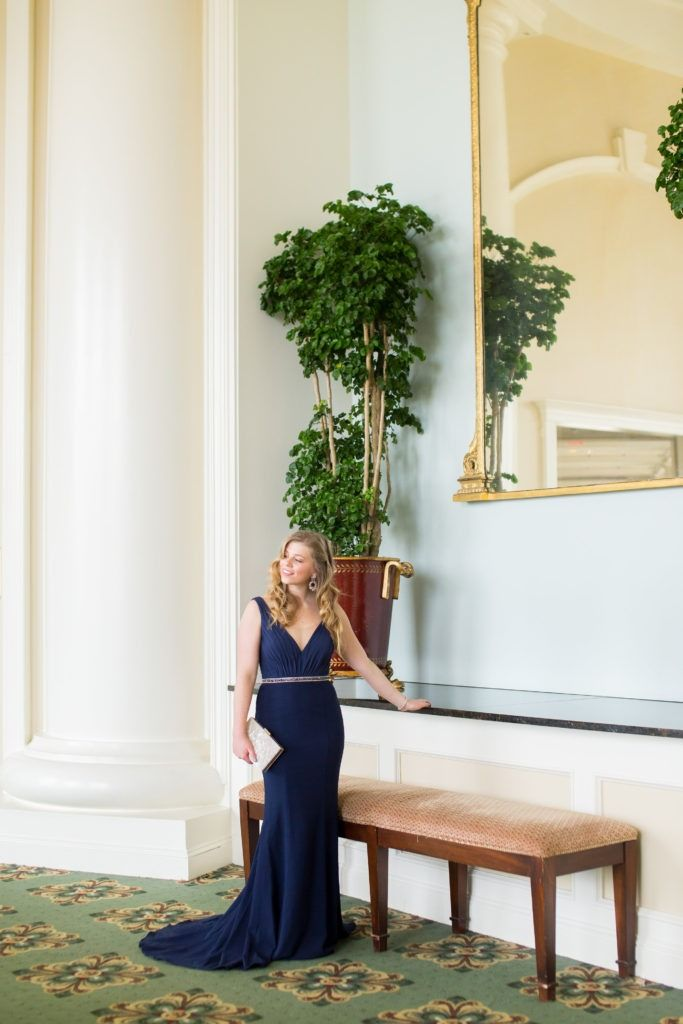 A navy blue wedding guest dress for a formal wedding. Get this look worn by Louella Reese at David's Bridal | Formal Wedding Attire, What to Wear to a Wedding, Wedding Dress Codes, Wedding Guest Attire, David's Bridal Wedding Guest Dresses