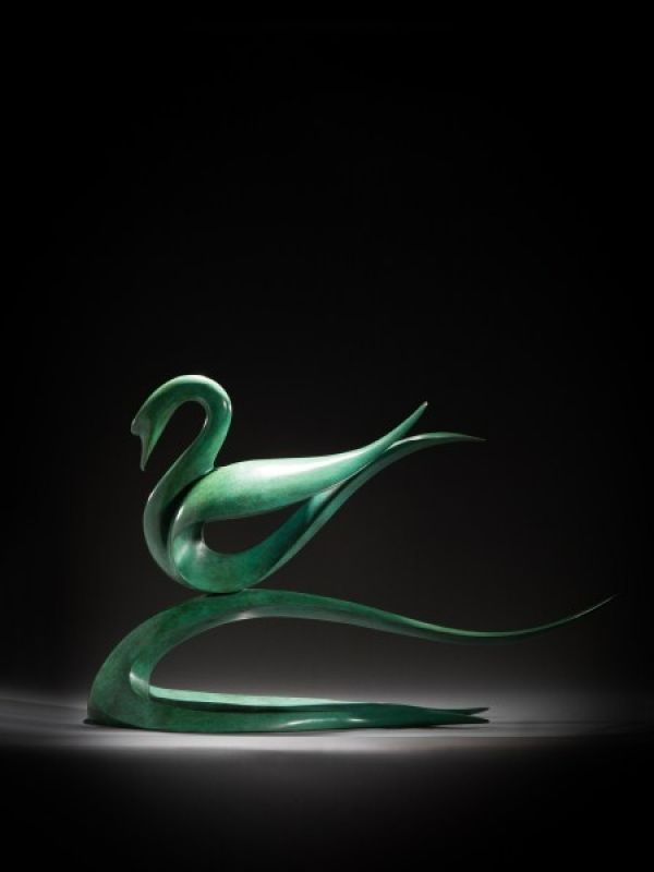 Bronze Abstract Contemporary or Modern Outdoor Outside Exterior Garden / Yard Sculptures Statues statuary sculpture by artist Simon Gudgeon titled: 'abstract Swan (Contemporary Stylised bronze Floating Swan statue)'