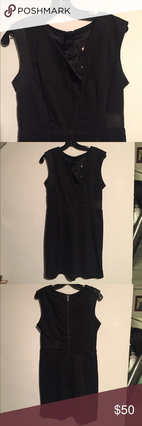 Diesel black denim and leather trim dress Edgy asymmetrical dress with ribbed leather trim. Totally cool! No size but fits size 6. Diesel Dresses