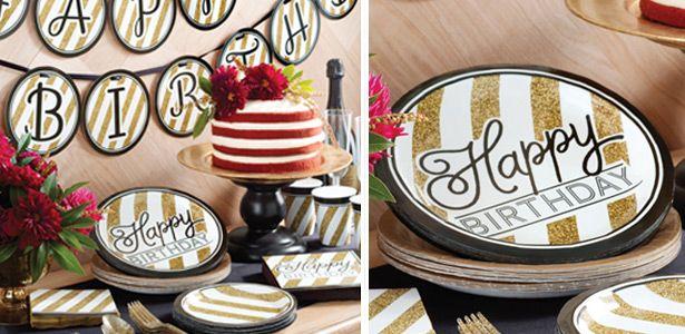 """Addobbi e decorazioni per feste a tema """"Happy Birthday nero e oro 18 anni"""" su VegaooParty"""