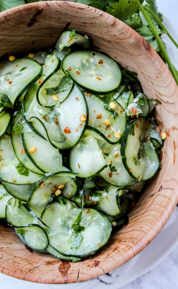 Cilantro-Lime Cucumber Salad - This cucumber salad is light, just as you would expect anything with cucumbers to be. I added some crushed red pepper to give it a little kick, but it's not overwhelming.