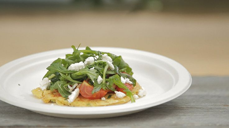 Ricotta Fritters with Tomato Relish, Rocket and Feta