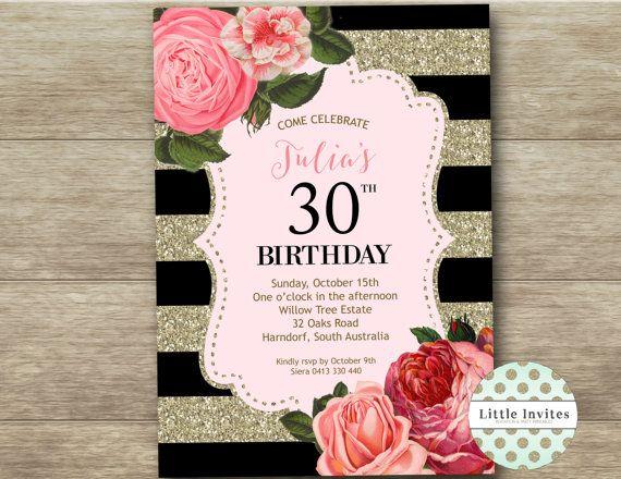 30th birthday invitation birthday invitation female any for Decoracion 30 cumpleanos