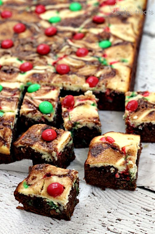 Marbled M&M Brownies ~ Chewy brownies layered with cream cheese and topped with M&Ms! #betterwithmms | Julie's Eats and Treats