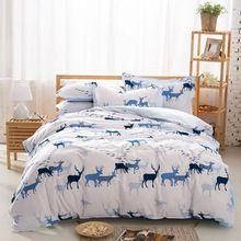 yılbaşı geyik sıcak satıcı geyik ve kuş yorgan beyaz çarşaf tasarım yataklar kraliçe(China (Mainland))