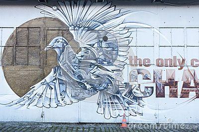 The Wall with Street art in old Jewish district Kazimierz in Krakow , Poland.